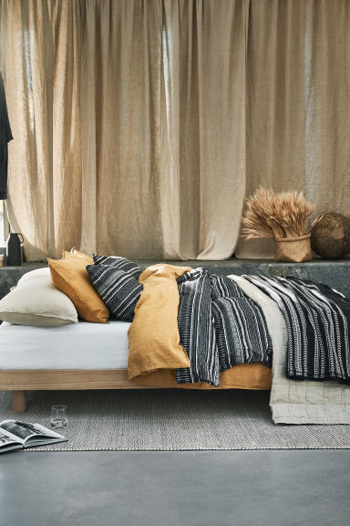 Patterned duvet cover set - Anthracite grey - Home All | H&M CN 1