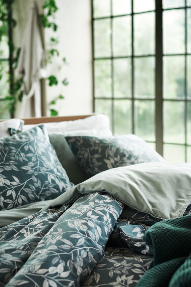 Washed cotton duvet cover set - Dusky green - Home All | H&M CN 1