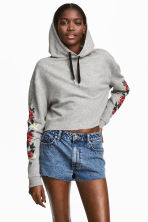 Cropped hooded top - Light grey/Flowers - Ladies | H&M 1