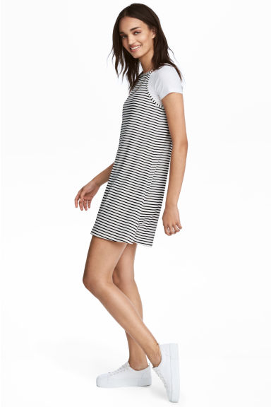Short jersey dress - White -  | H&M GB