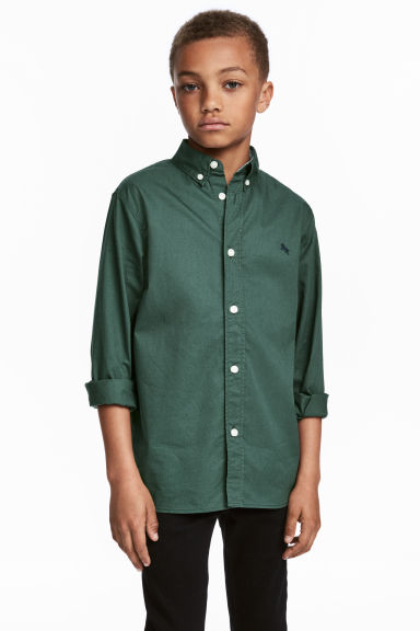 Cotton shirt - Dark green - Kids | H&M