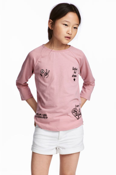 Printed jersey top - Dusky pink -  | H&M 1
