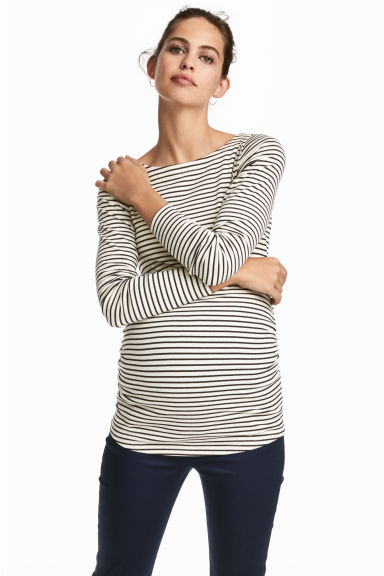 MAMA Long-sleeved jersey top - Natural white/Black striped - Ladies | H&M IE 1