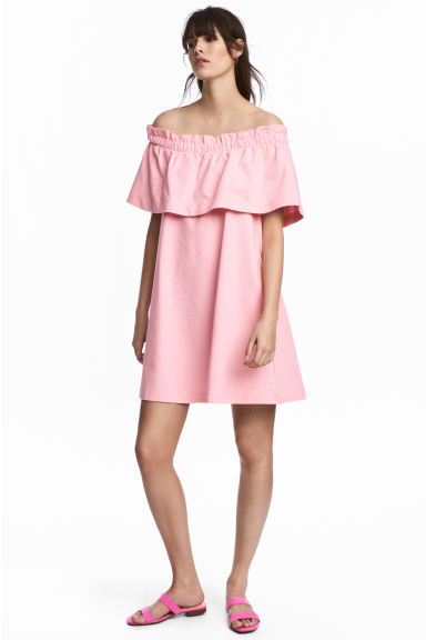 Off-the-shoulder dress - Light pink - Ladies | H&M CN