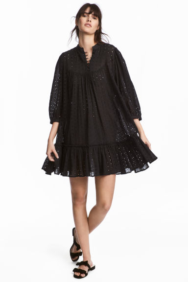 Hole-embroidered cotton tunic - Black - Ladies | H&M