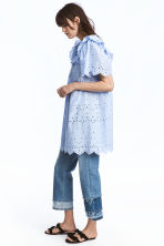 Dress with broderie anglaise - Light blue - Ladies | H&M 1