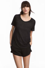 Linen round-neck top - Black - Ladies | H&M 1
