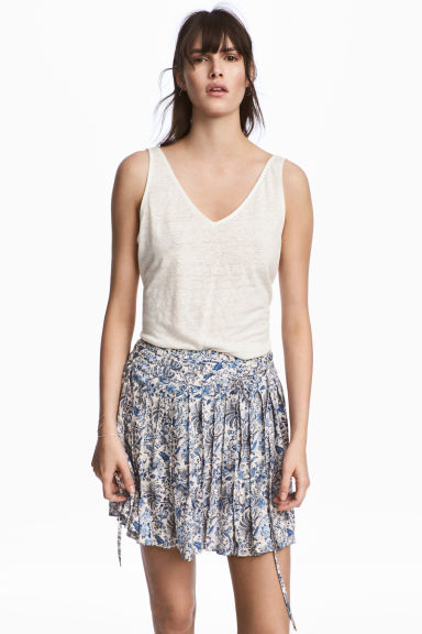 Linen jersey vest top - Natural white - Ladies | H&M