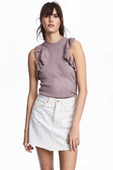 Fine-knit frilled top - Heather purple - Ladies | H&M 1