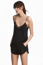 Jersey top with lace - Black - Ladies | H&M CN 1