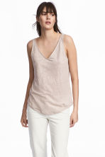 Linen jersey vest top - Light mole -  | H&M 1