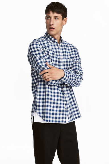 Overhemd - Regular fit - Donkerblauw/wit geruit - HEREN | H&M NL 1
