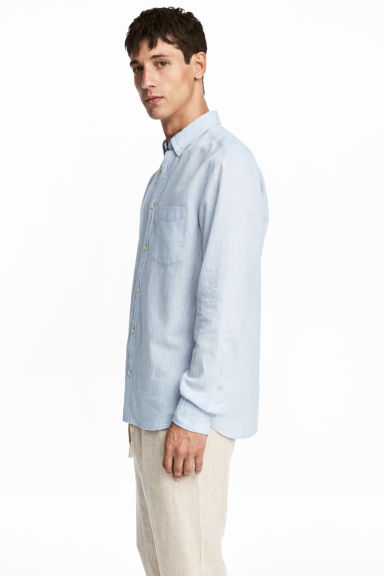 Linen-blend shirt Regular fit - Light blue marl -  | H&M IE