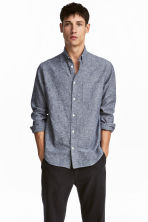 Linen-blend shirt Regular fit - Dark blue marl -  | H&M 1