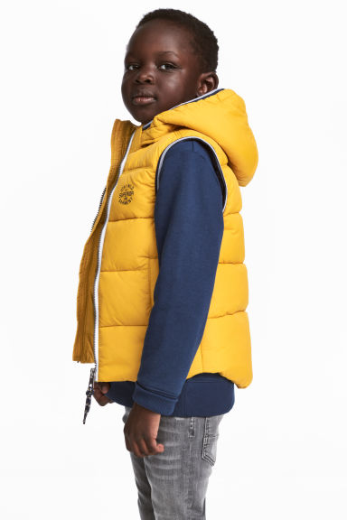 Padded gilet with a hood - Yellow - Kids | H&M CN 1