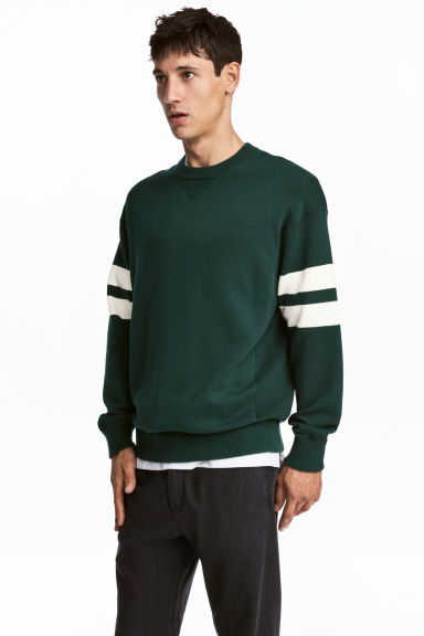 Fine-knit jumper - Dark green - Men | H&M 1