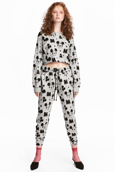Patterned joggers - Light grey/Mickey Mouse - Ladies | H&M 1