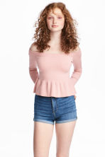 Off-the-shoulder jumper - Light pink - Ladies | H&M 1