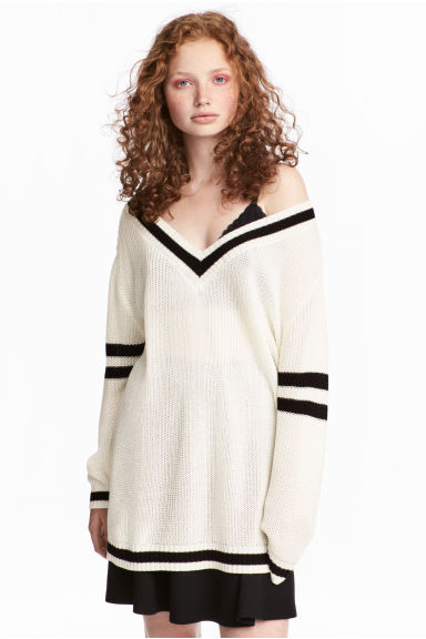 Knit Sweater - White/black - Ladies | H&M CA 1