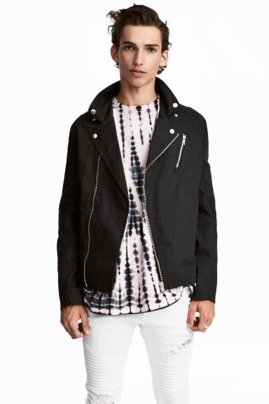 Cotton twill biker jacket - Black - Men | H&M IE