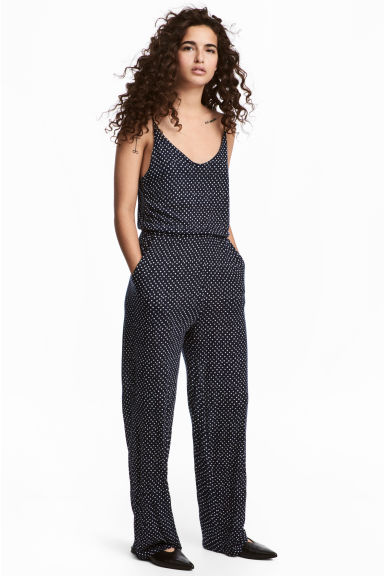 Jersey jumpsuit - Dark blue/Spotted - Ladies | H&M CA