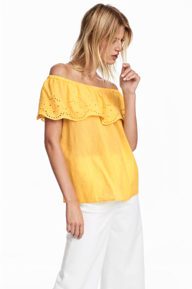 Off-the-shoulder top - Yellow -  | H&M