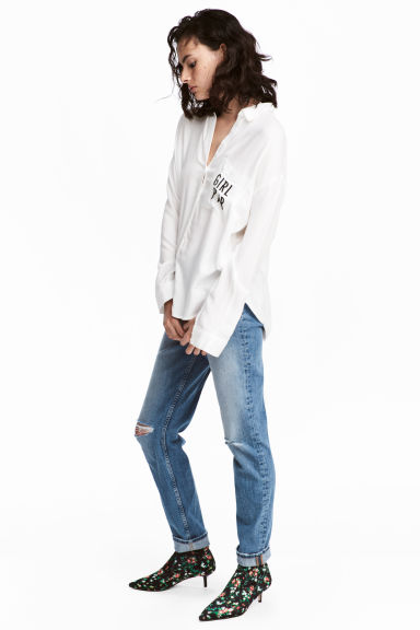 Boyfriend Slim Low Jeans - 牛仔蓝 - 女士 | H&M CN 1