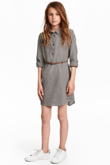 Shirt Dress - Black/white plaid - Kids | H&M CA