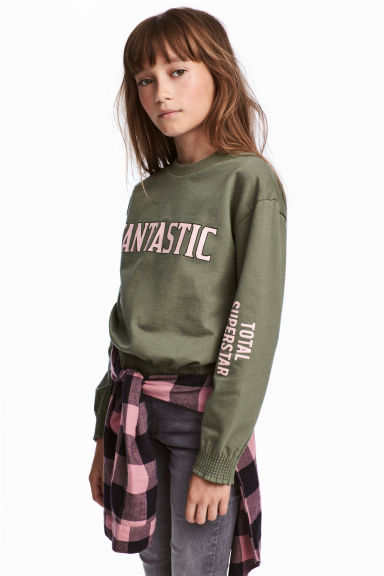 Sweatshirt with smocking - Khaki green - Kids | H&M 1