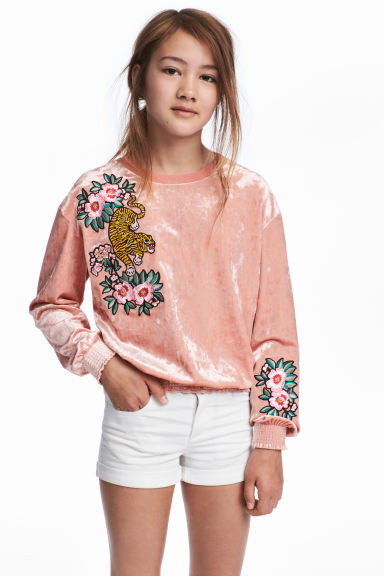 Sweatshirt with Smocking - Vintage pink - Kids | H&M CA