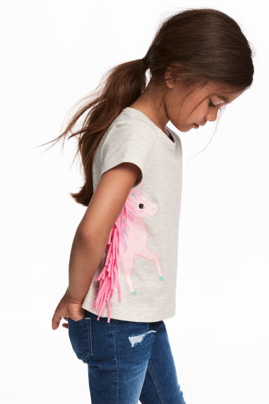 Jersey top with fringes - Light grey/Unicorn - Kids | H&M CN 1