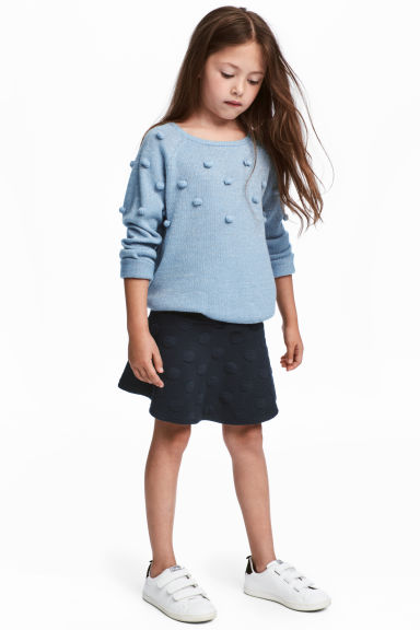 Flounced jersey skirt - Dark blue/Spotted - Kids | H&M CN 1