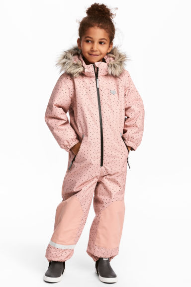 Padded outdoor all-in-one suit - Powder pink/Spotted - Kids | H&M