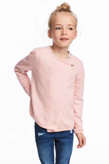 交疊式開襟衫 - Light pink marl/Heart - Kids | H&M 1