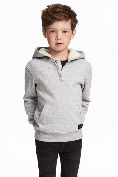 Top with a pile-lined hood - Light grey marl -  | H&M CN 1