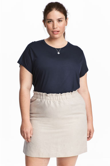 Linen-blend skirt - Light beige - Ladies | H&M GB