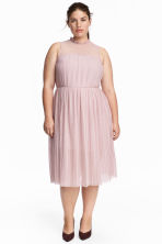 Pleated mesh dress - Powder pink - Ladies | H&M CN 1