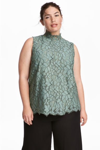 H&M+ Sleeveless Lace Top - Dusky green - Ladies | H&M CA 1