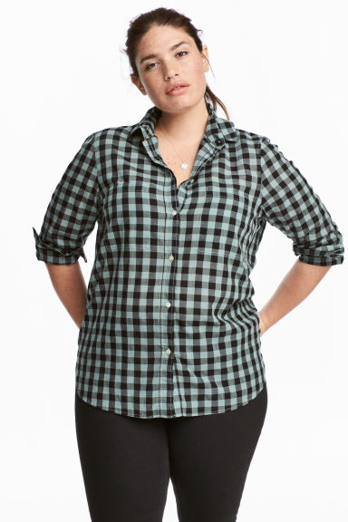 H&M+ Cotton shirt - Green - Ladies | H&M CN 1