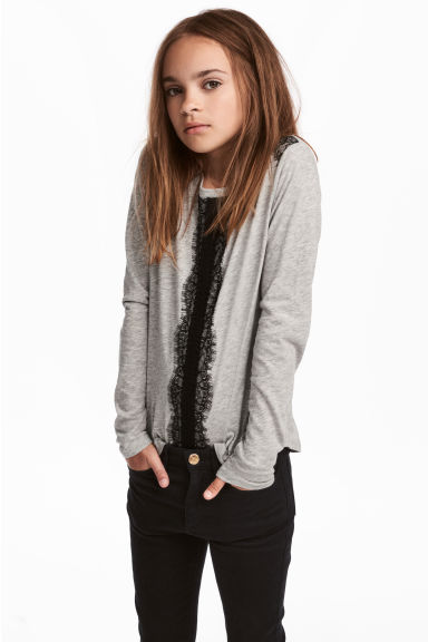 Long-sleeved Top with Lace - Gray melange -  | H&M CA 1