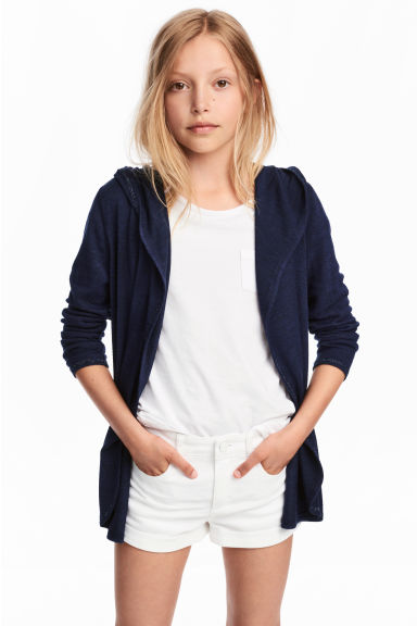 Hooded cardigan - Dark blue - Kids | H&M CN 1