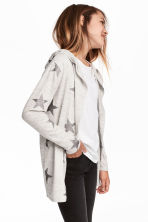 Hooded cardigan - Light grey marl/Stars - Kids | H&M CN 1