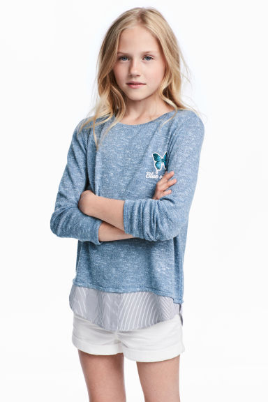 Fine-knit jumper - Blue marl - Kids | H&M 1