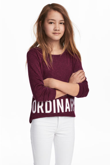 Fine-knit printed jumper - Plum -  | H&M 1