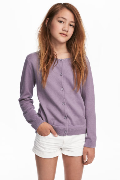 Fine-knit cardigan - Purple - Kids | H&M CN