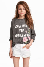Printed jersey top - Dark grey marl -  | H&M CN 1