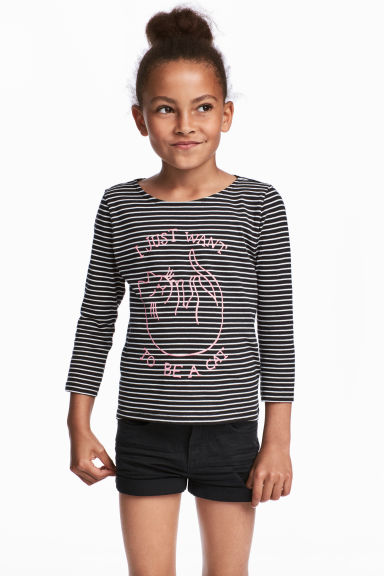 Jersey Top with Printed Design - Black/white striped - Kids | H&M CA 1