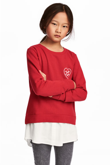 Printed sweatshirt - Red - Kids | H&M CN