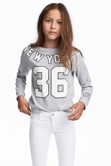 Sweatshirt with a motif - Grey marl/New York - Kids | H&M CN 1