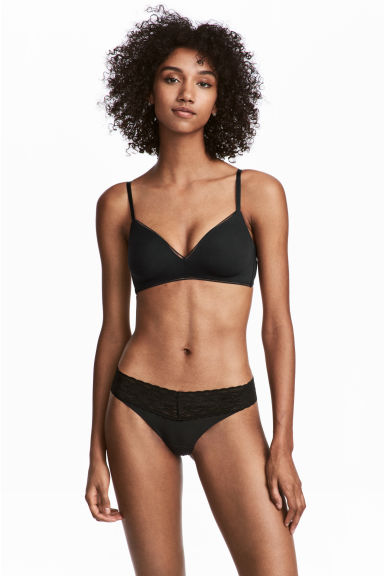 2-pack Brazilian briefs - Black/Light beige - Ladies | H&M